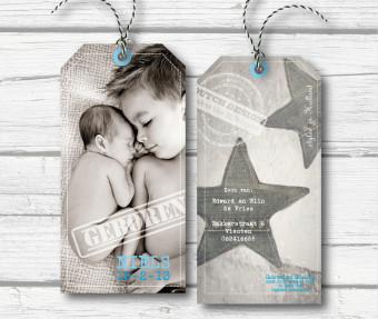 geboortekaart label, grijs blauw