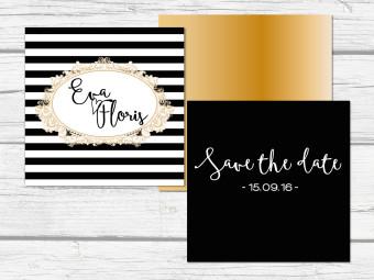 Save the date kaart zwart wit goud