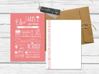hand lettering trouwkaart