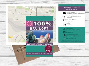Trouwkaart in de vorm van een reisgids