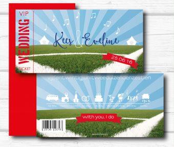 festival ticket trouwkaarten