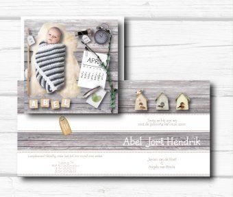geboortekaart meetlint, klok, kalender en gewicht
