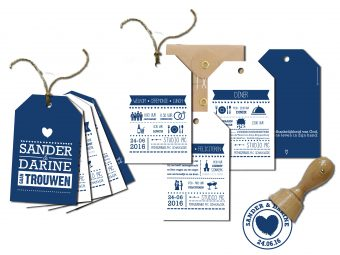 trouwkaarten, labels set,