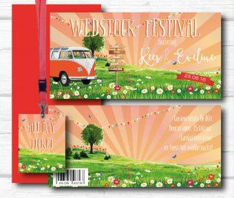 Wedstock festival trouwkaart