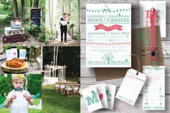 trouwhuisstijl stationery, trouwen in het bos