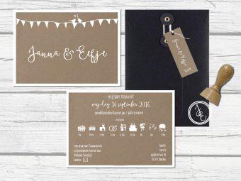 Kraft A5 kaart, simpel, stoer, japanse envelop