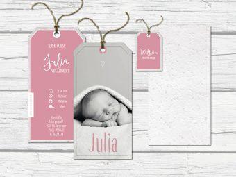 geboortelabels oud roze met foto