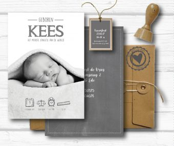 A5 geboortekaart met foto en symbolen