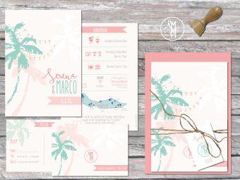 Trouwkaarten | trouwhuisstijl Beach pastel