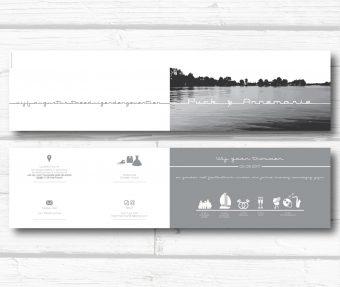 trouwkaart simpel en strak met skyline