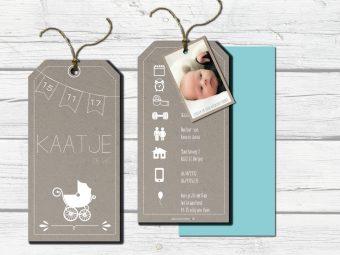 geboortekaartje Labelkaart kraft met extra fotolabel