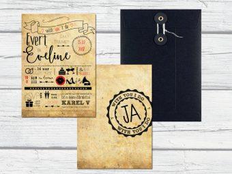 trouwkaart lettering, oud papier, huwlijksuitnodiging zelf ontwerpen