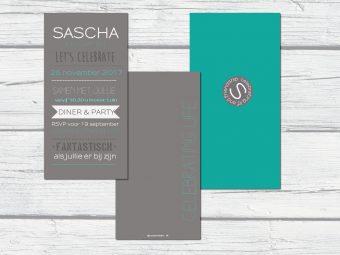 feestkaart Sascha kraft met groen zelfontwerpen