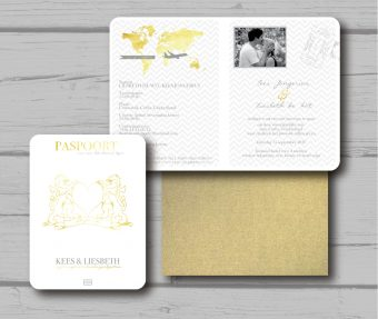 Trouwkaart Paspoort Goud-wit