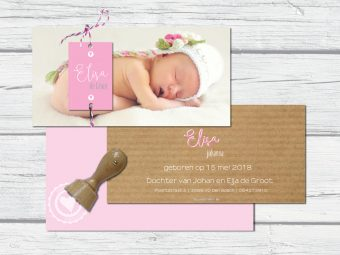 geboortekaart met foto en naamlabel zachtroze/kraft