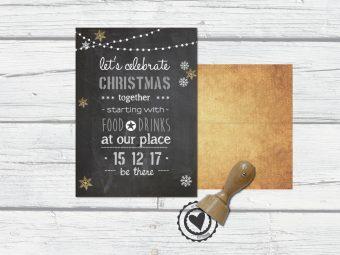 Kerstkaart groot met krijtbord en goud