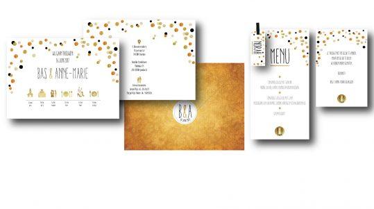 goud, zilver, confetti, uitnodiging, huwelijk