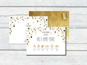 confetti trouwkaart goud, zwart en wit met symbolen