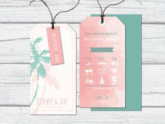 trouwkaart zelf ontwerpen label Ibiza