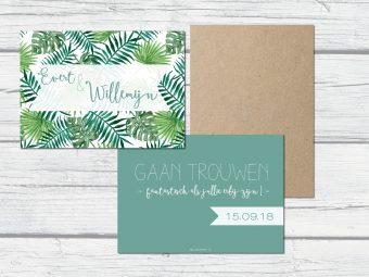 trouwkaarten zelf ontwerpen botanische save the date zelf ontwerpen