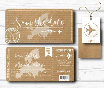 zelf ontwerpen save the date boarding pass