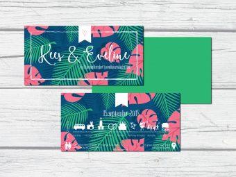 trouwkaarten zelf ontwerpen tropisch
