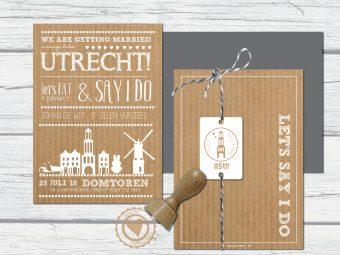 Trouwkaart Utrecht domtoren zelf ontwerpen