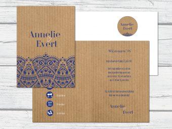 Klassieke trouwkaart met kantpatroon en kraft