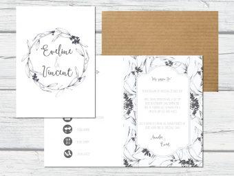 Klassieke trouwkaart met blaadjes