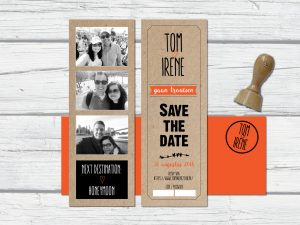 Save the date ticket kraft met stempel