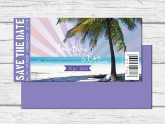 Trouwkaart tickets strand