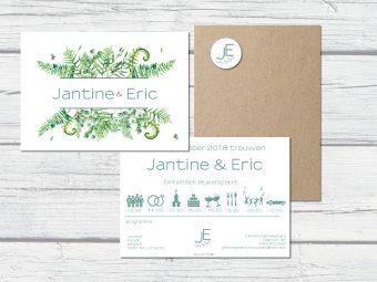 Botanische trouwkaart