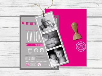 Geboortekaart Lettering met symbolen en extra foto label