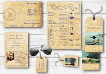Trouwkaarten paspoort met dagprogramma