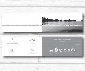 Strakke trouwkaart met skyline Friesland