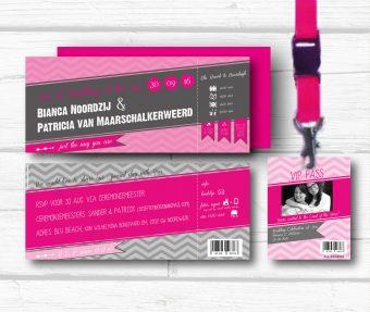 Trouwkaarten Festival met allday ticket voor daggasten