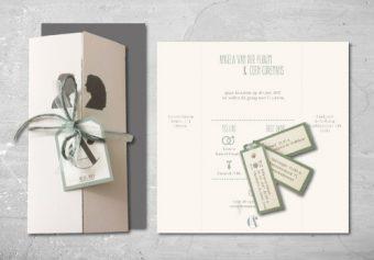 Klassieke Trouwkaart met silhouet bruidspaar