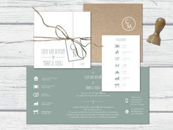 Klassieke trouwkaart met label en programma
