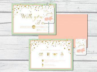 Pastel met gouden trouwkaart en party label