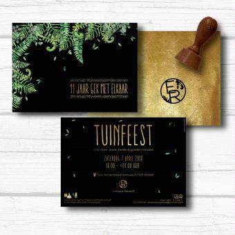 Tuinfeest uitnodiging goud