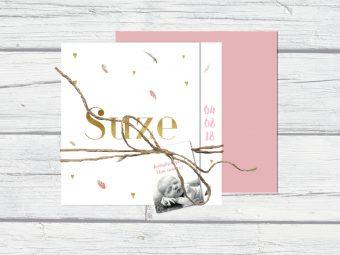 Geboortekaartje roze met goud en foto