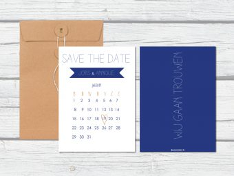 Save the date Blauw met wit