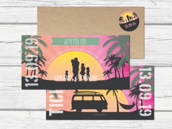 Beach trouwkaart, save the date